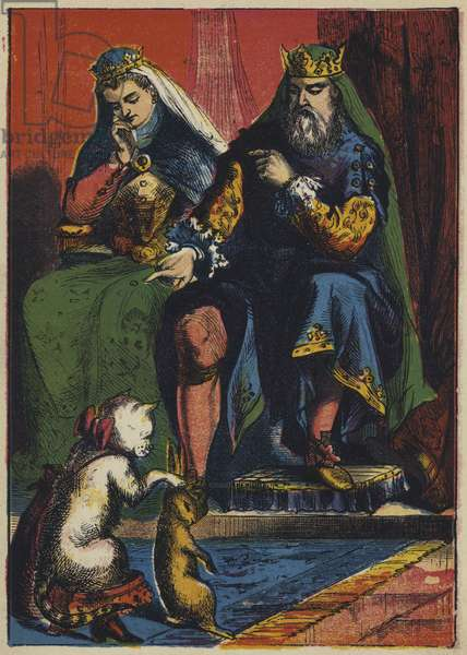 Puss Makes a Present to the King (colour litho)