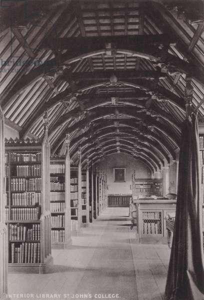 Interior Library St John's College (b/w photo)