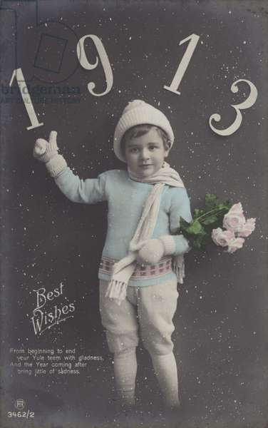 Boy, wrapped up for winter, wishing you a Happy 1913 (colour photo)