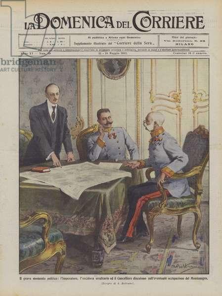 Il grave momento politico, l'Imperatore, l'Arciduca ereditario ed il Cancelliere discutono … (colour litho)