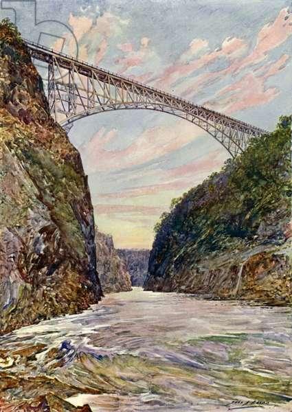 The bridge over the Victoria Falls, Rhodesia (colour litho)