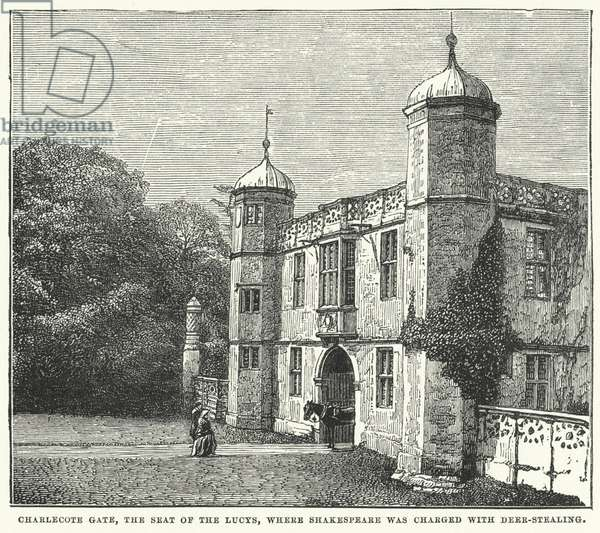 Charlecote Gate, the Seat of the Lucys, where Shakespeare was charged with Deer-Stealing (engraving)