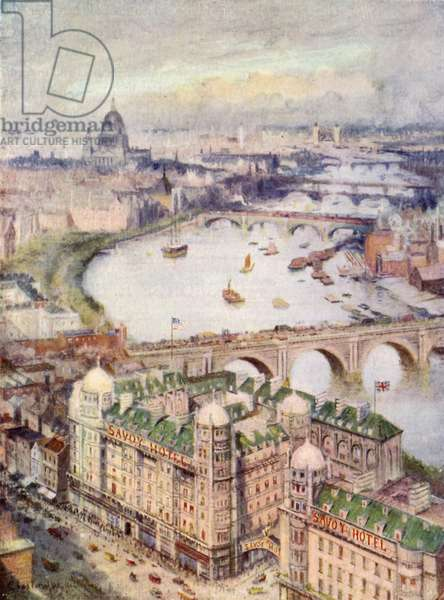 View from Savoy Hotel, looking East (colour litho)