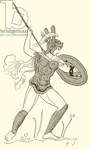 Samnite Warrior, after a Painted Vase in the Louvre (engraving)