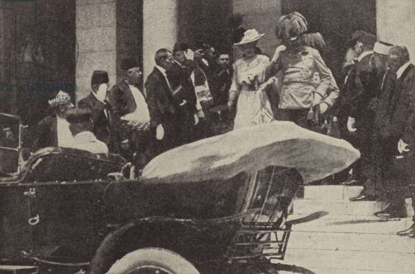 Archduke Franz Ferdinand and Archduchess Sophie of Austria in Sarajevo shortly before their assassination, 1914 (b/w photo)