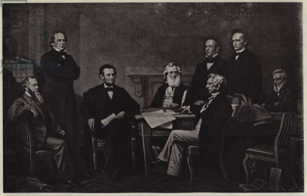 First Reading of Abraham Lincoln's Emancipation Proclamation (litho)