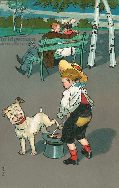 Naughty boy and his dog urinating into a man's hat (colour litho)