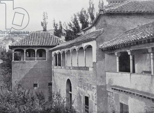 Tocador De La Reina and distant view of the Generalife, Alhambra (b/w photo)