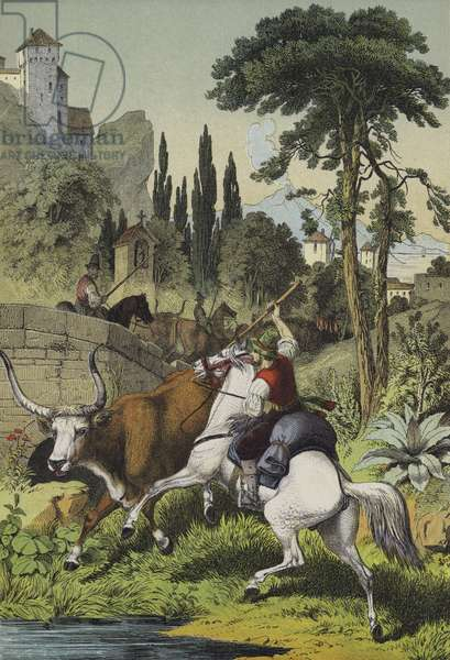 Mounted shepherds in Italy pursuing a Steppes Bull in a landscape with Wild Chestnut, Cluster Pine and Italian Poplar trees (colour litho)