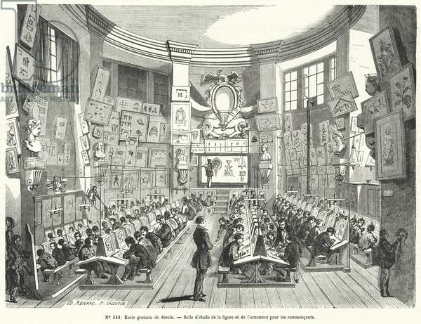 Beginners' class in a free school of drawing, France (engraving)