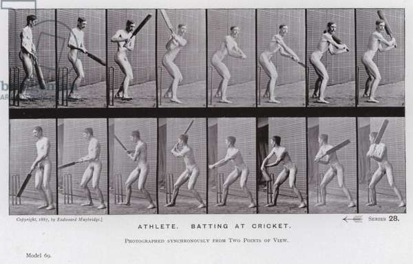 The Human Figure in Motion: Athlete, batting at cricket (b/w photo)