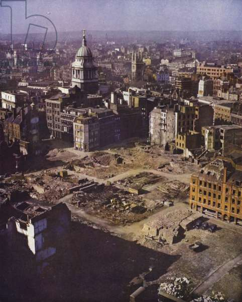 Cleared site of buildings destroyed by German bombing during the Blitz, City of London, World War II (photo)