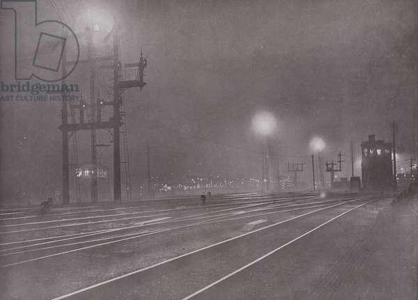 Clapham Junction at Night (b/w photo)