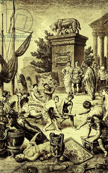 Greek culture - statues and works of art carried off to Rome, illustration from 'The Illustrated History of the World', published c.1880 (digitally enhanced image)