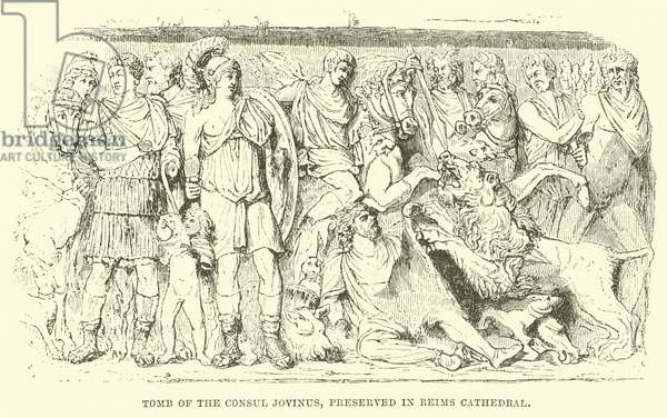 Tomb of the Consul Jovinus, Preserved in Reims Cathedral (engraving)