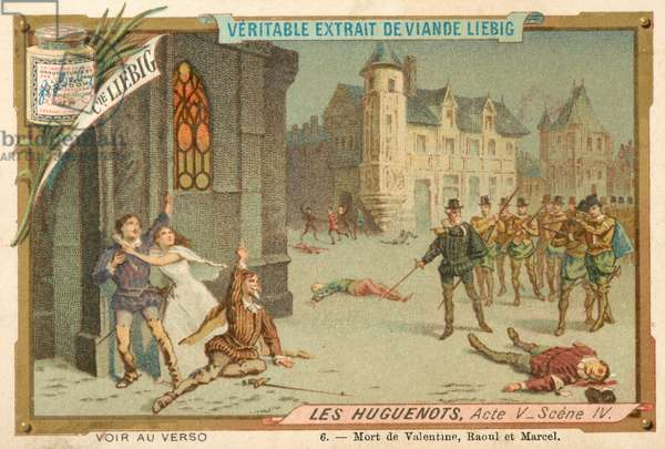 Scene from Giacomo Meyerbeer's opera Les Huguenots (chromolitho)