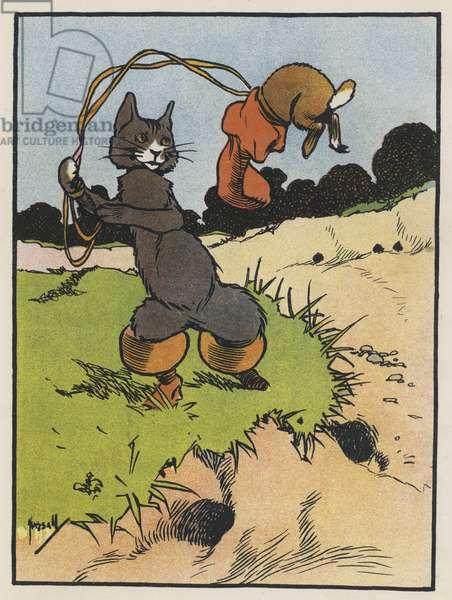 Puss catches a Rabbit (colour litho)