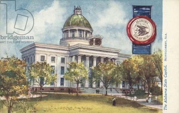 The Alabama State Capitol, Montgomery, Alabama (colour litho)