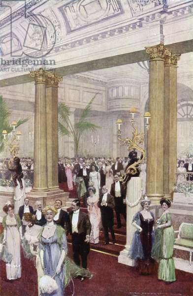 Guests arriving for supper at the Savoy Hotel (colour litho)