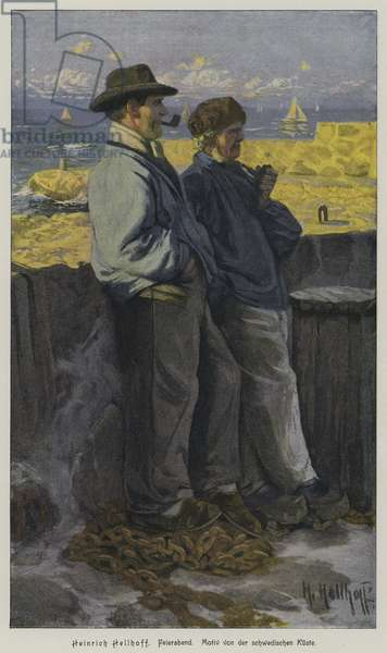 End of the working day. Typical scene on the Swedish coast (coloured engraving)
