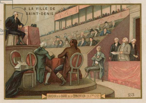 King Louis XVI of France on trial before the National Convention, 1792 (chromolitho)