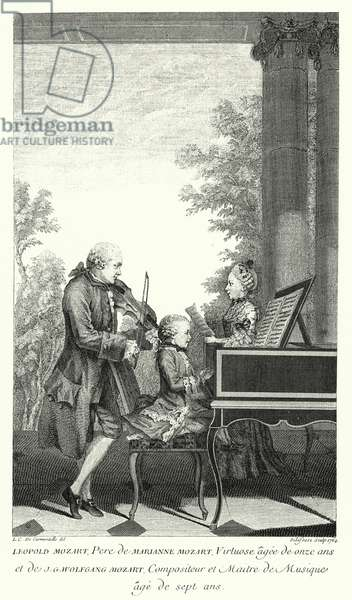 Leopold Mozart playing music with his daughter Marianne and son Wolfgang (engraving)