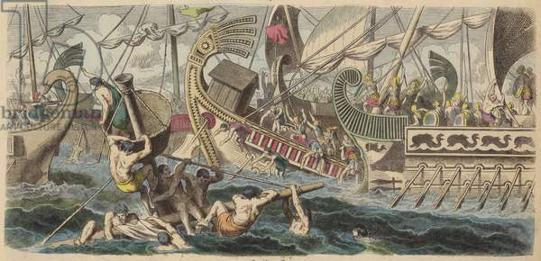 Ancient Greek sea battle (coloured engraving)
