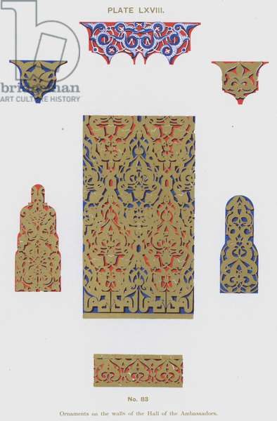 Ornaments on the walls of the Hall of the Ambassadors (colour litho)