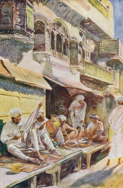 Workers in an Indian bazaar (colour litho)