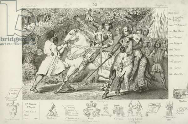 Charles VI of France is warned of an ambush in the forest near Angers, 1392 (engraving)