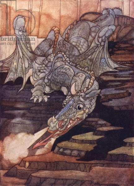 The dragon killed by Saint George (colour litho)