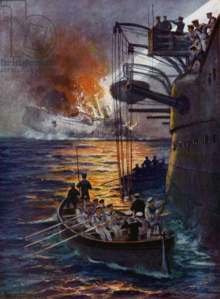 The sinking of the Leipzig (colour litho)