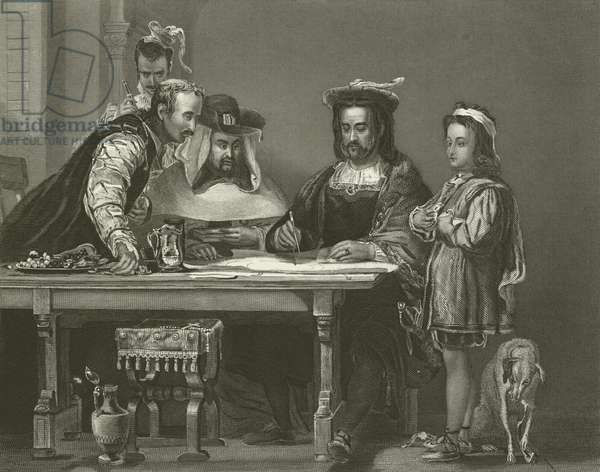 Columbus Planning the Discovery of America, 15th Century (engraving)