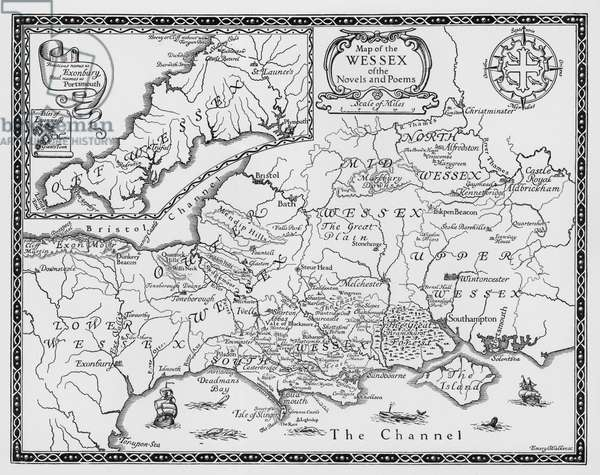 Map of the Wessex of the Novels and Poems of Thomas Hardy (engraving)