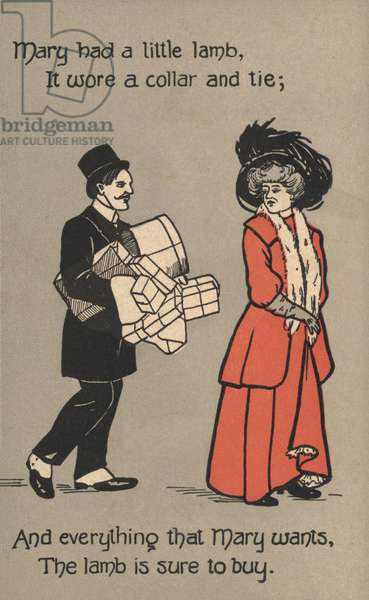 Husband carrying his wife's parcels (colour litho)
