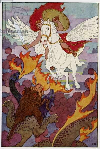 Pegasus started right toward the Chimera's threefold head (colour litho)