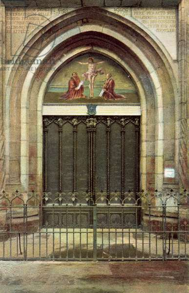 Door of All Saints' Church in Wittenberg (colour photo)