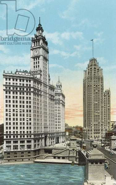 Wrigley Building and Tribune Tower (coloured photo)