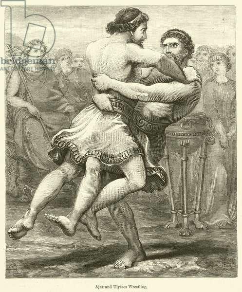 Ajax and Ulysses wrestling (engraving)
