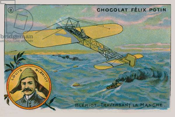 Louis Bleriot making the first flight across the English Channel in a heavier than air aircraft, 1909 (chromolitho)