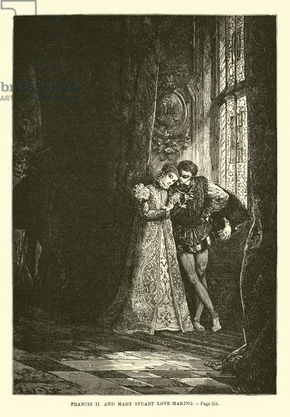 Francis II and Mary Stuart love-making (engraving)