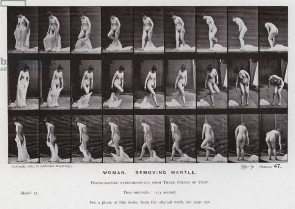 The Human Figure in Motion: Woman, removing mantle (b/w photo)