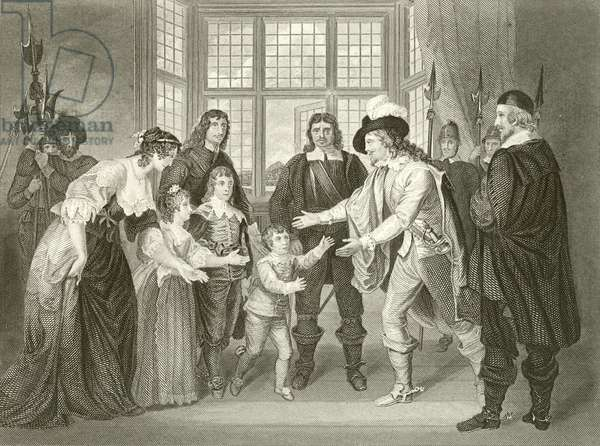 The interview of Charles I with his children (engraving)
