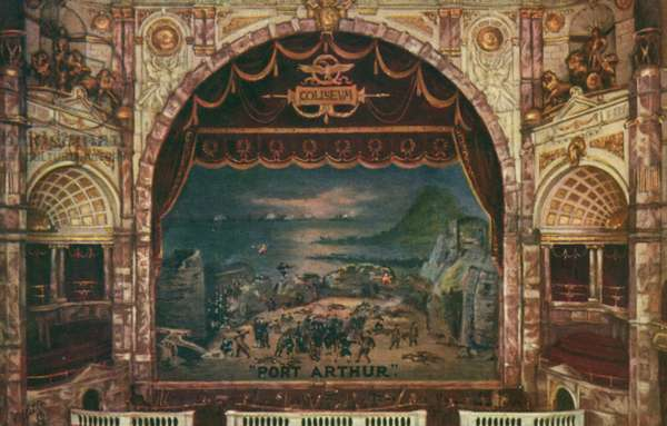 Port Arthur, grand musical spectacle at the Coliseum Theatre, London, 1905 (colour litho)