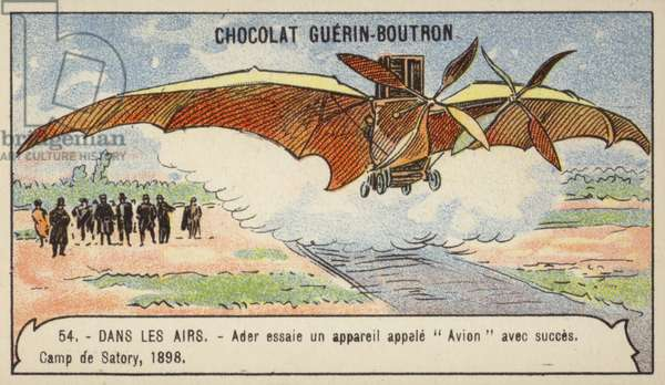 Ader making a successful flight in his flying machine Avion, Camp de Satory, France, 1898 (chromolitho)