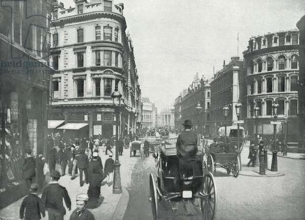 Queen Victoria Street, at Queen Street: Looking towards the Royal Exchange (b/w photo)