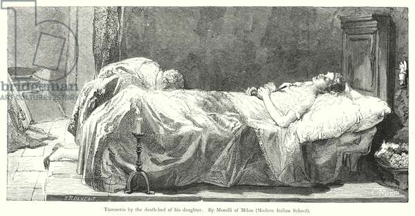 Tintoretto by the death-bed of his daughter (engraving)