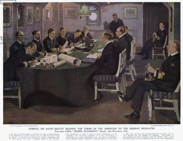Admiral Sir David Beatty reading the terms of the armistice to the German Delegates, fore-cabin HMS Queen Elizabeth, Rosyth, 16 November 1918 (colour litho)
