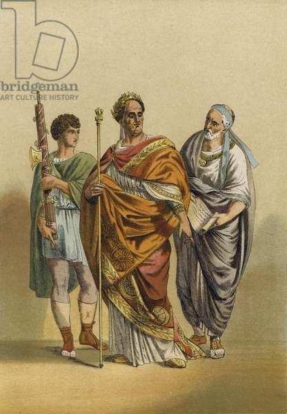 Roman priest of Jupiter and his attendants (chromolitho)