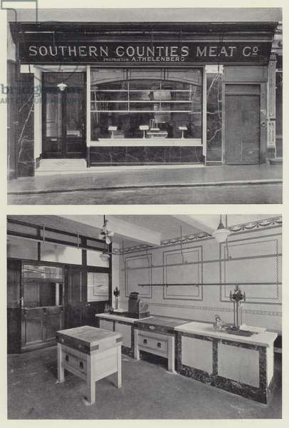 Exterior and Interior Arrangement of Modern Pork Butcher's Premises (b/w photo)